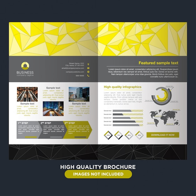 Elegant yellow brochure for business Free Vector