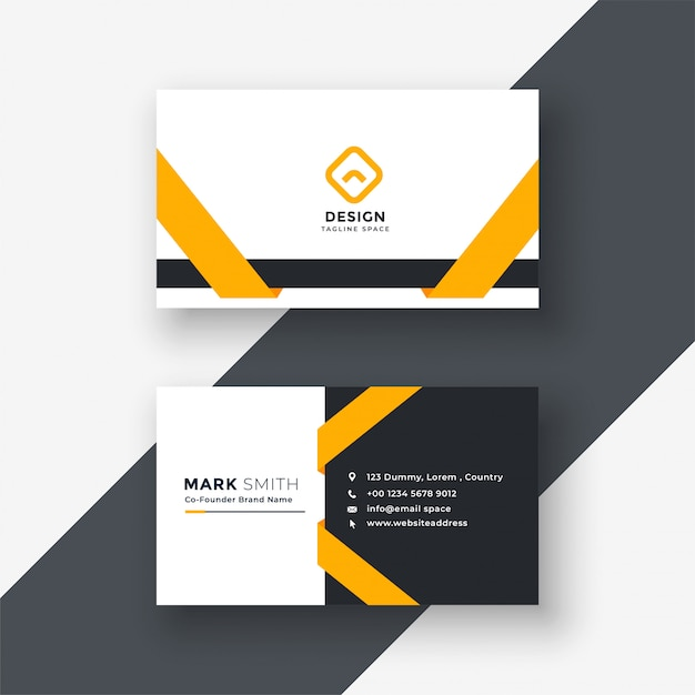 Elegant yellow business card template Free Vector