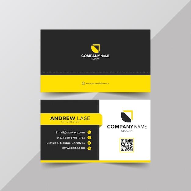 Elegant yellow business card Premium Vector