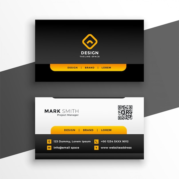 Elegant yellow corporate business card  template Free Vector