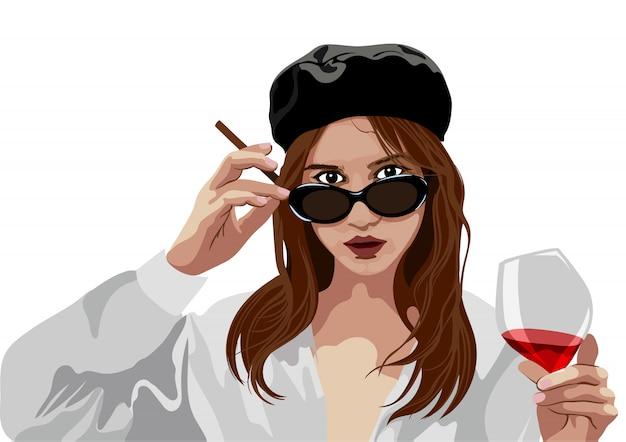 ベレー帽の帽子とワインとタバコのガラスを保持しているガラスを持つエレガントな少女 Premiumベクター