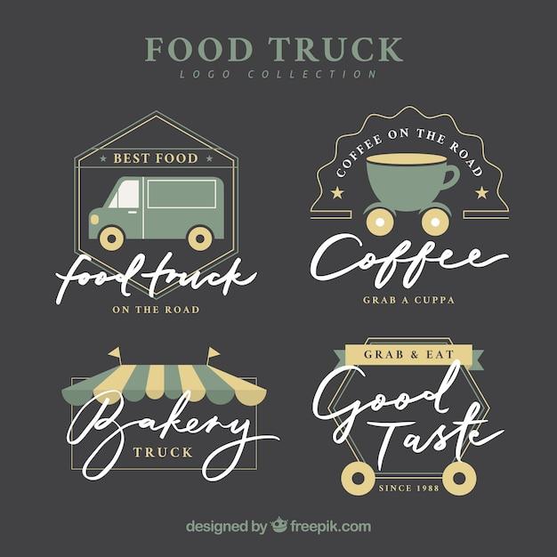 Elegante food truck logos with flat design