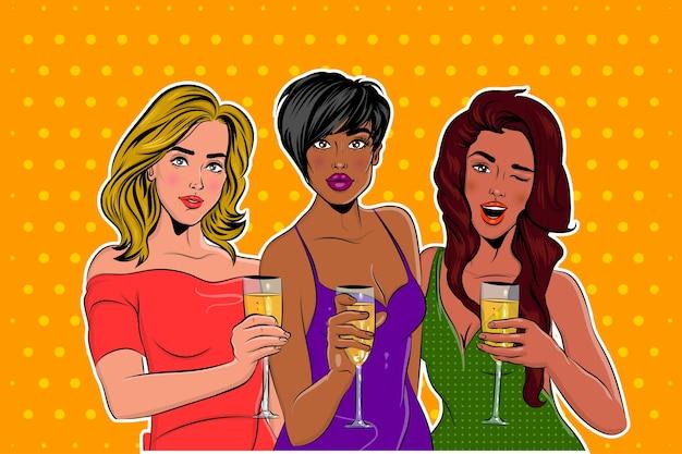 シャンパングラスでパーティーでエレガントな服を着た女の子のポップアート Premiumベクター