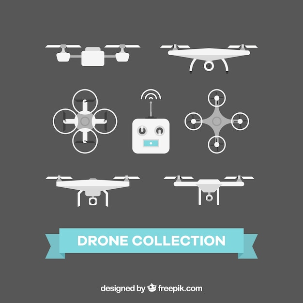 Elegat pack of flat drones Free Vector