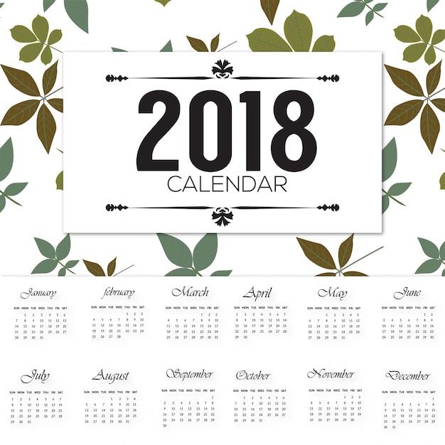 elegent 2018 calender desgin  Free Vector