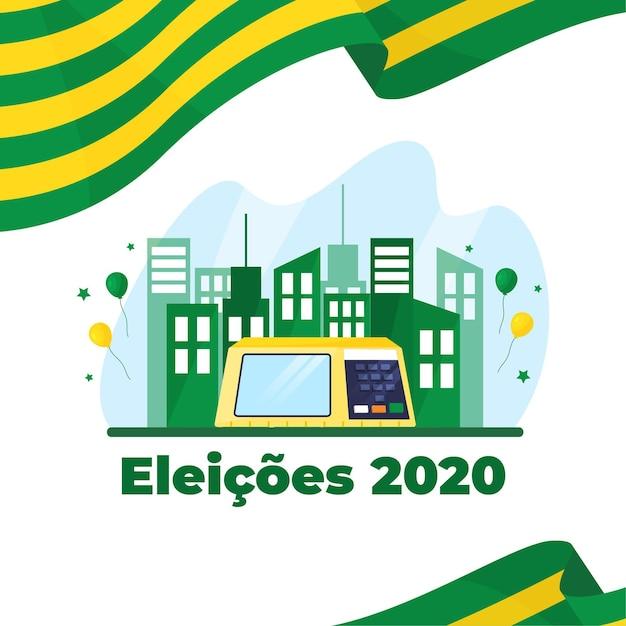 Eleições для иллюстрации bazil с флагом и зданиями Бесплатные векторы