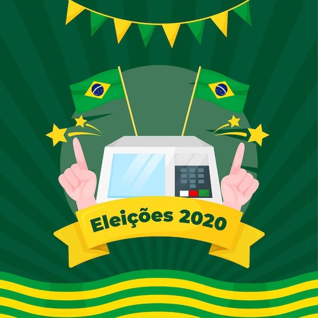 Eleições для иллюстрации bazil с флагами и гирляндой Premium векторы