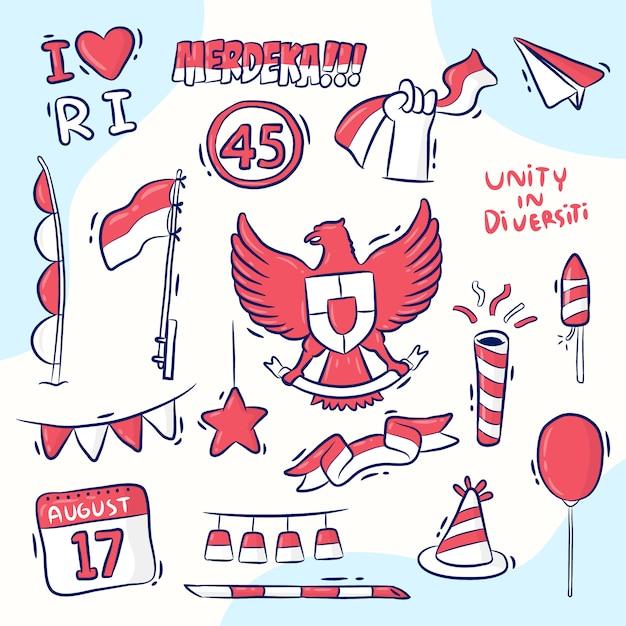 Элемент дизайна для дня независимости индонезии, рисованный стиль, merdeka означает независимость Premium векторы