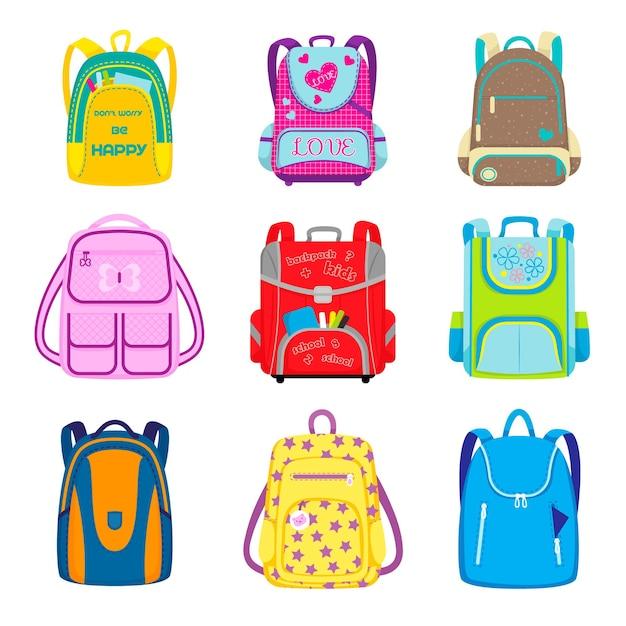 小学校のバックパックセット。オープンポケットに物資が入ったキッズスクールバッグ、子供っぽいバッグ、リュックサック。漫画イラスト 無料ベクター