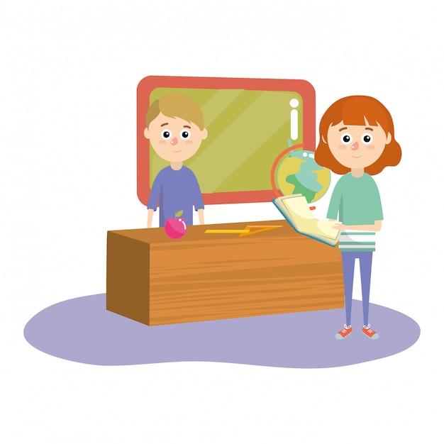 elementary school cartoon premium vector