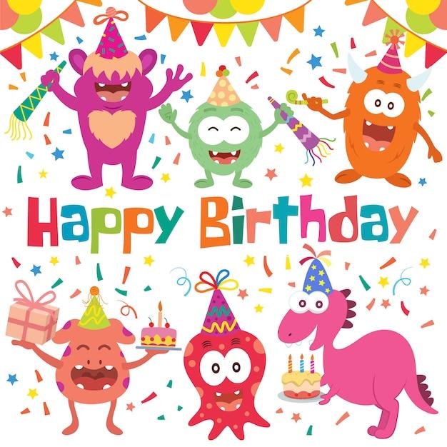 День рождения elementos collection Бесплатные векторы