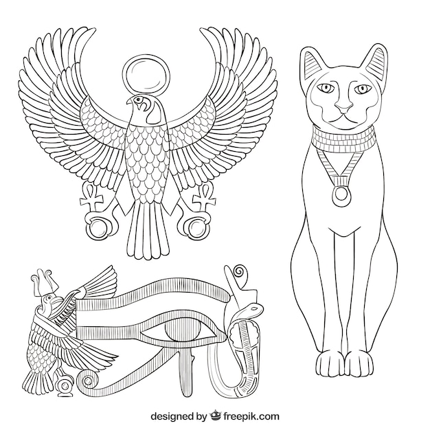 Elements of the ancient egypt Free Vector
