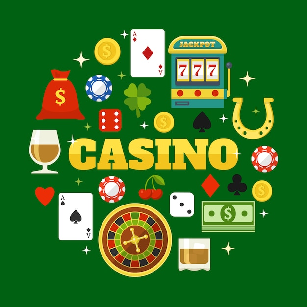 Elements of casino flat elements set Free Vector