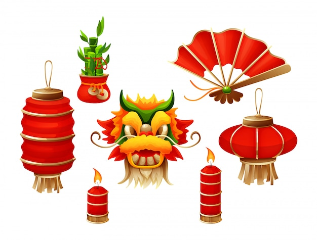 Elements for chinese traditional happy new year with lantern dragon mask red burning candles Premium Vector