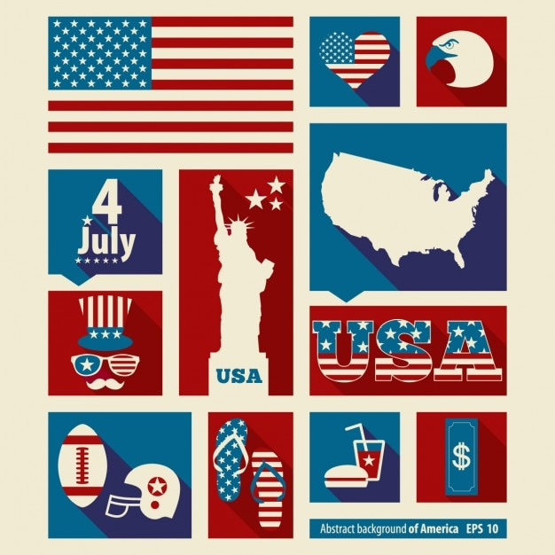 elements collage of american independence day vector free download
