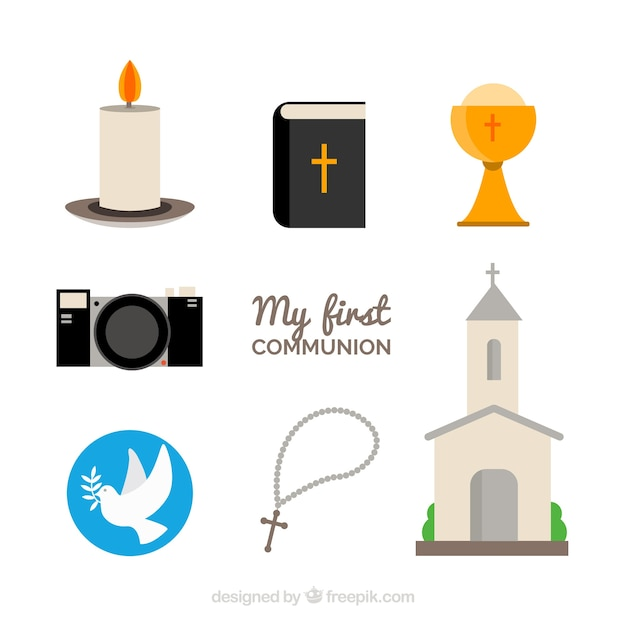 Elements for the first communion day Free Vector