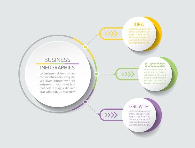 インフォグラフィックプレゼンテーションおよびチャートステップまたはプロセスオプション番号ワークフローテンプレートステップの要素 Premiumベクター