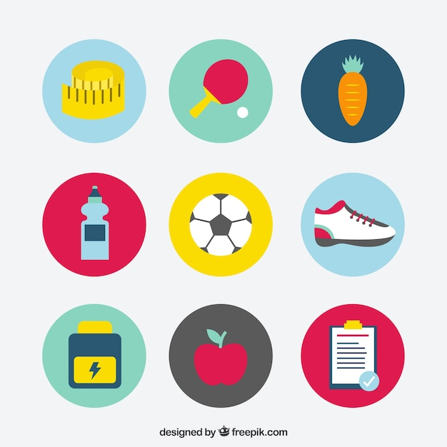Elements to get fit set Free Vector