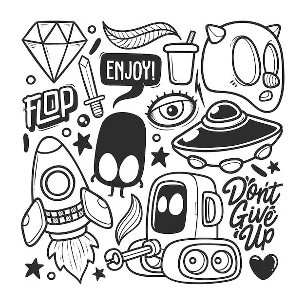 Elementi disegnati a mano doodle vettore Vettore gratuito