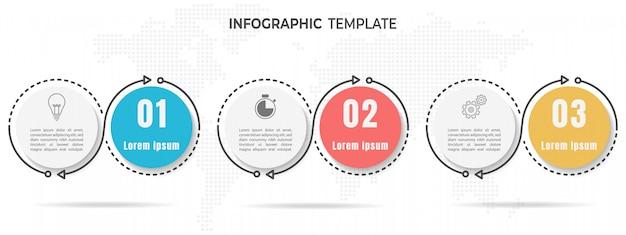 Elements infographic circle 3 options. Premium Vector