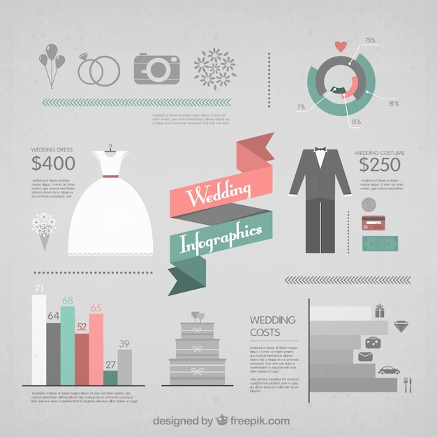 Elements infographics for wedding Free Vector