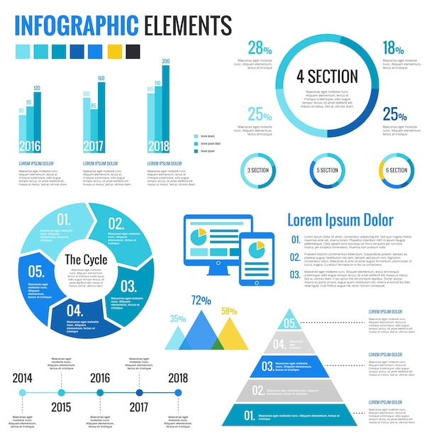 Elements for infographics Free Vector