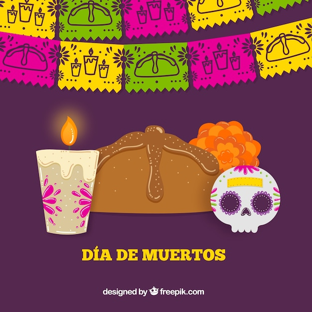 Elements of celebration of the day of the dead background Free Vector