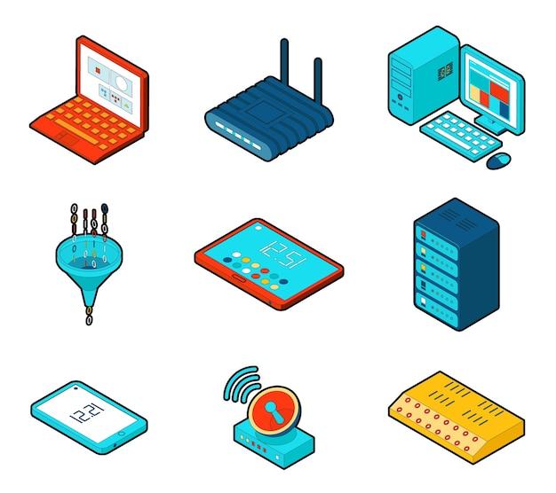 Элементы сети облачных вычислений. Бесплатные векторы