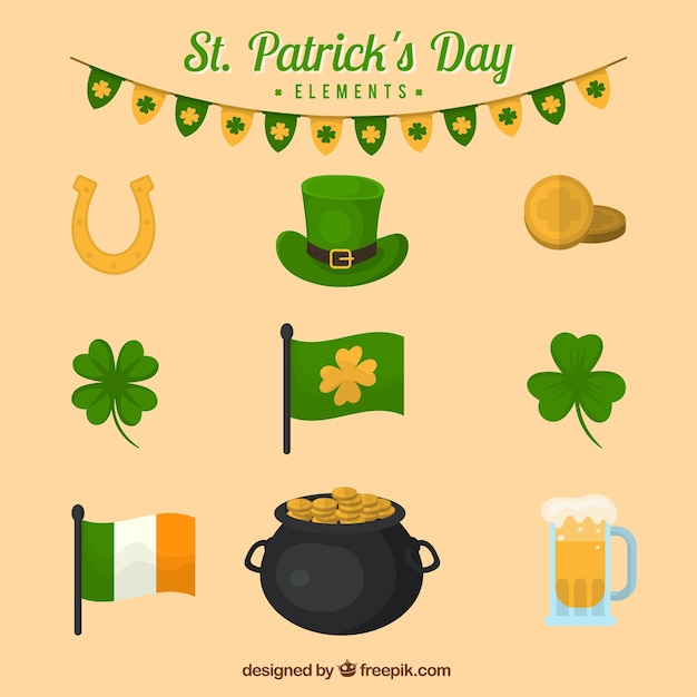 Elements of st. patrick's day Free Vector