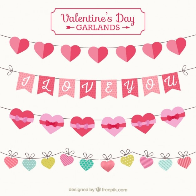 Elements Valentine Day Garlands Vector Free Download