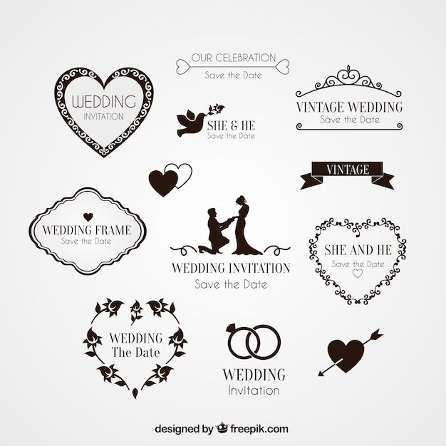 Elements for wedding invitation Free Vector