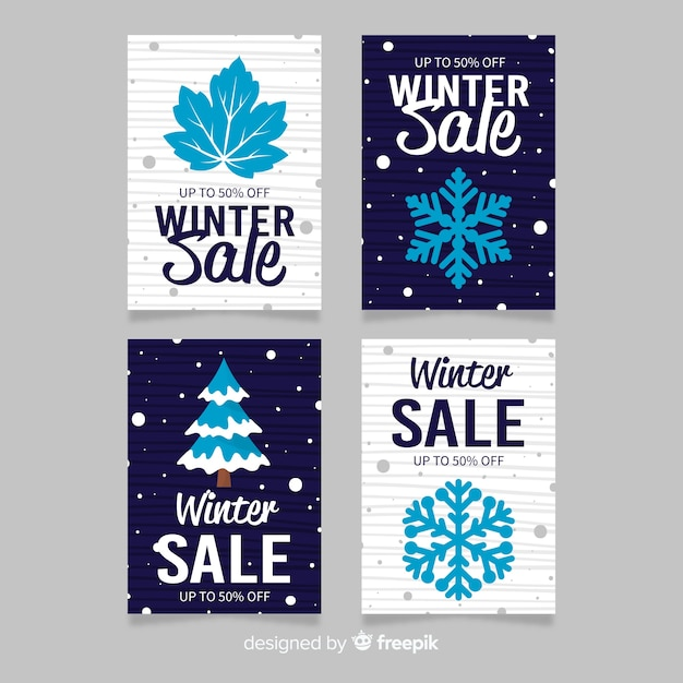 Elements winter sale card templates collection Free Vector