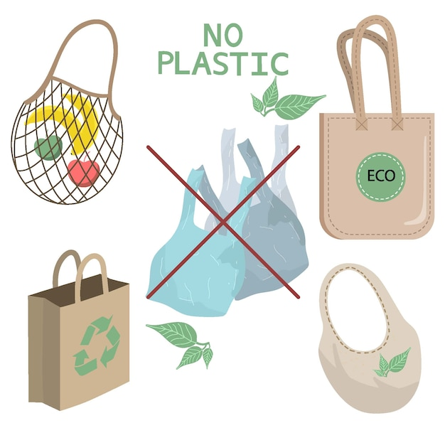 Elements of zero waste life in vector isolated background. eco style. no plastic. go green.collection of zero waste durable and reusable items or products. Premium Vector