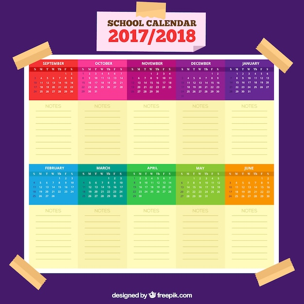 Elengant school calendar with colorful style
