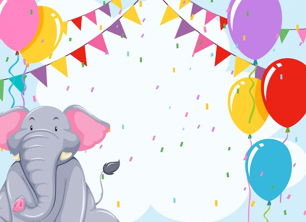 Elepehant on birthday template Free Vector