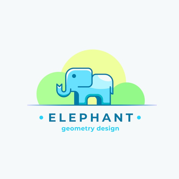 Elephan geometry design abstract sign, symbol or logo template with colorful tiny animal silhouette. Premium Vector