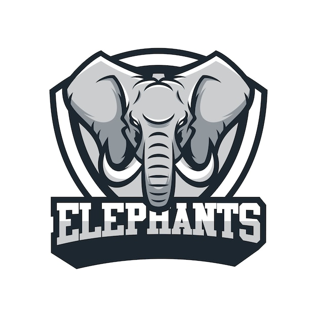 Elephant Head Logo Vector Emblem Illustration Design Idea Creative