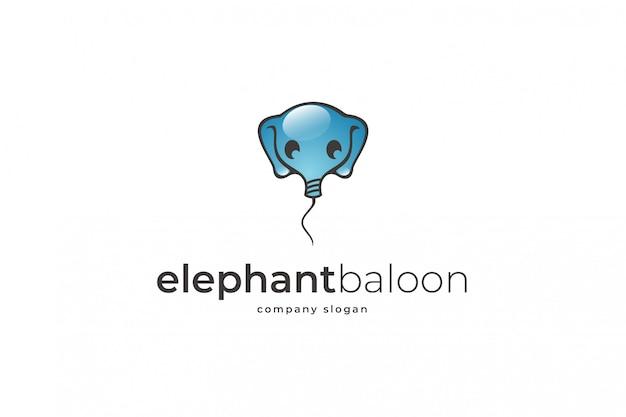 Elephant baloon logo template Premium Vector