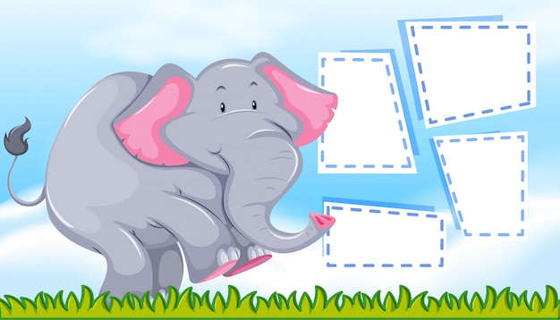 Elephant on blank note Free Vector