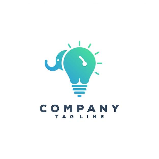 Elephant & bulb logo design Premium Vector