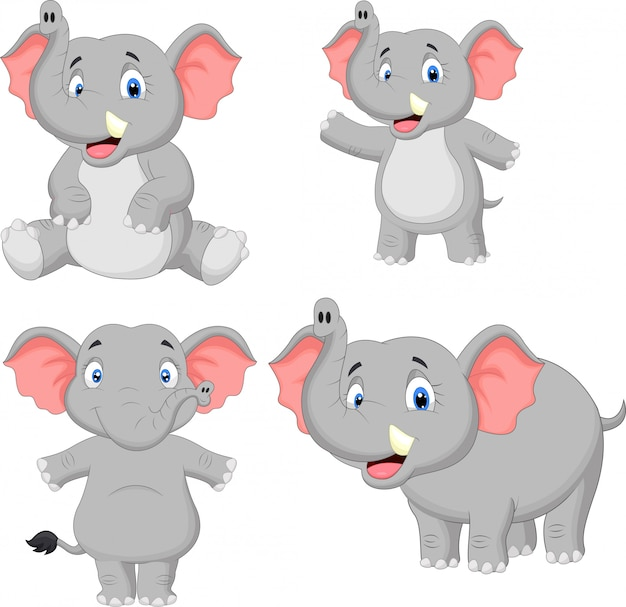 Elephant cartoon collection set Premium Vector