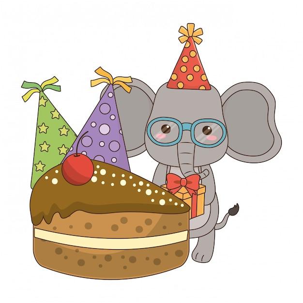 Elephant cartoon with happy birthday icon Vector | Premium ...