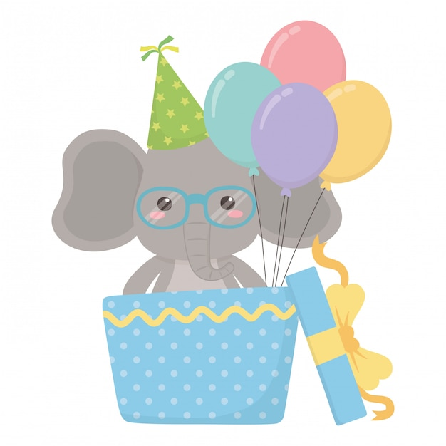 Elephant cartoon with happy birthday Vector | Premium Download
