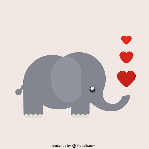 Elephant cartoon with hearts Free Vector