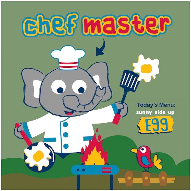 Elephant the chef master funny animal cartoon Premium Vector