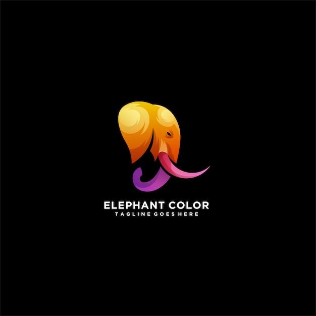 Elephant color head elephant colorful logo. Premium Vector