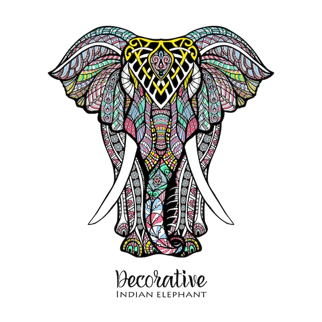 Elephant colored illustration Free Vector