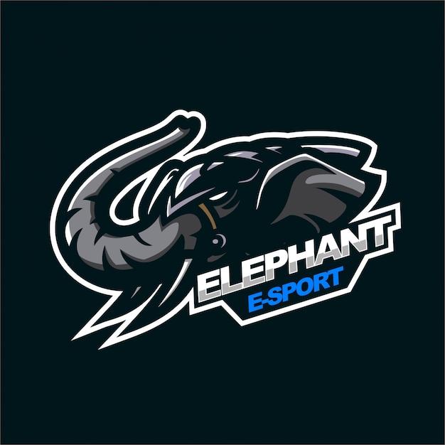 Elephant e-sport gaming mascot logo template Premium Vector