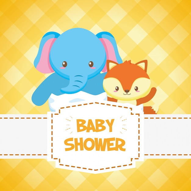 Elephant and fox for baby shower card Free Vector