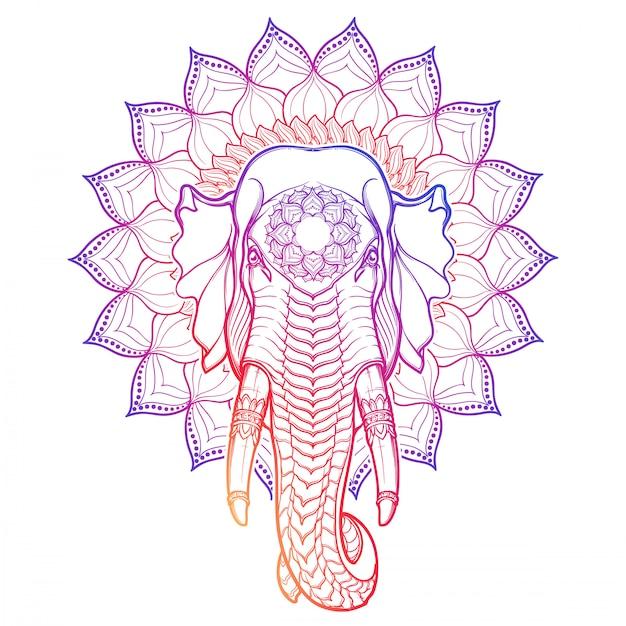 象の頭は、装飾的なロータスフレームに分離されました。アジアの芸術品や工芸品で人気のあるモチーフ。複雑な手描きの白い背景で隔離されました。 Premiumベクター